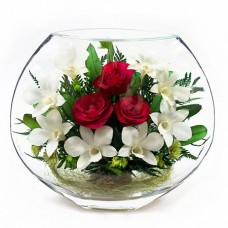 Цветы в стекле I love you